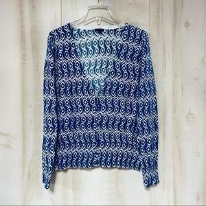 Ann Taylor Blue White Ikat Print V Neck Cardigan L